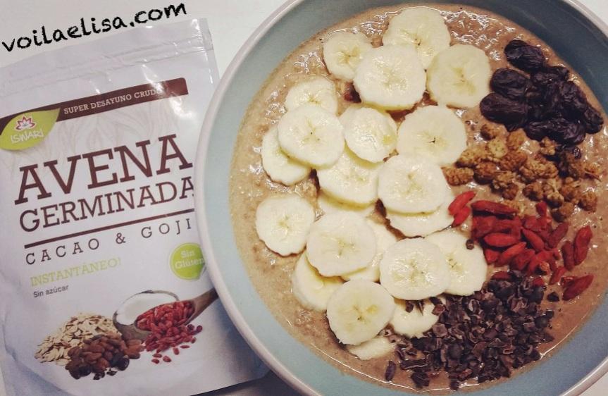 porridge-platano-cacao-bayas-goji-moras-blancas-nibs-cacao-pasas-sin-gluten-sin-lactosa-sin-azucar-refinado